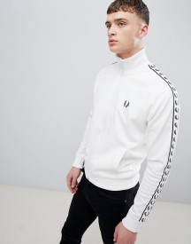 Fred Perry Sports Authentic Taped Track Jacket In White afbeelding
