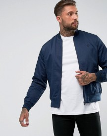 Fred Perry Tipped Bomber Jacket In Dark Blue afbeelding