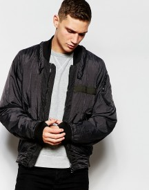 G-star Bomber Jacket Submarine Nylon Zip Detail In Raven Overdye afbeelding