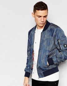 G-star Jacket Attacc Bomber All Over Dot Camo Print In Sapphire Blue afbeelding