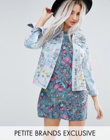 Glamorous Petite Denim Jacket In Grafitti Print afbeelding