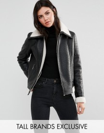Glamorous Tall Faux Shearling Jacket With Leather Look Trim Detail afbeelding