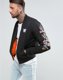 Good For Nothing Bomber Jacket In Black With Embroidered Floral Sleeves afbeelding