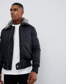 Good For Nothing Bomber Jacket In Black With Faux Fur Collar afbeelding