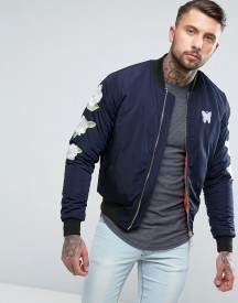 Good For Nothing Bomber Jacket In Navy With Embroidered Rose Sleeves afbeelding