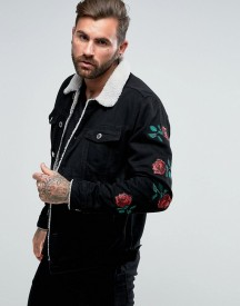 Good For Nothing Muscle Denim Jacket In Black With Rose Embroidery afbeelding