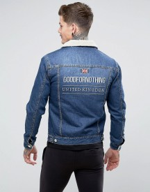 Good For Nothing Muscle Denim Jacket In Blue With Borg Lining afbeelding