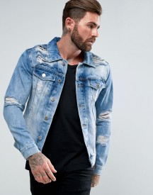 Good For Nothing Muscle Denim Jacket In Blue With Distressing afbeelding