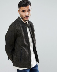 Goosecraft Austin Distressed Leather Jacket In Grey afbeelding