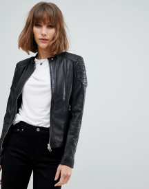 Goosecraft Collarless Leather Jacket With Diamond Quilt Detail afbeelding