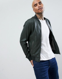Goosecraft Leather Bomber Jacket In Forest Green afbeelding
