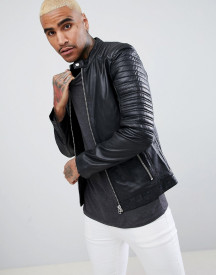Goosecraft Turin Leather Biker With Quilted Shoulders In Black afbeelding