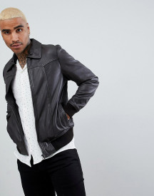 Goosecraft Zagreb Leather Bomber Jacket In Brown afbeelding