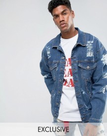 Granted Oversized Denim Jacket In Mid Blue With Distressing afbeelding