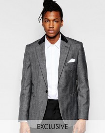 Hart Hollywood By Nick Hart 100% Wool Prince Of Wales Check Blazer In Slim Fit afbeelding