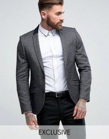 Heart & Dagger Skinny Blazer In Tweed With Velvet Trim afbeelding
