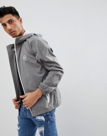 Hollister Hooded Windbreaker Jacket With Icon Seagull And Sleeve Logo In Grey afbeelding