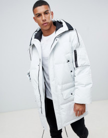 Hugo Belmu Down Padded Parka Jacket With Taped Logo Hood In White afbeelding