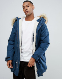 Hunter Original Insulated Parka With Faux Fur Hood And Removable Fleece Lining In Navy afbeelding