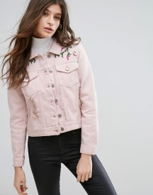 Influence Pink Embroidered Distressed Denim Jacket afbeelding