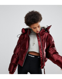 Ivy Park High Shine Padded Coat In Burgundy afbeelding