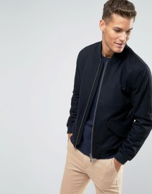 Jack Wills Bomber Jacket In Wool Black afbeelding