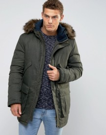 Jack Wills Downfilled Parka Detachable Faux Fur Trim afbeelding