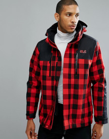 Jack Wolfskin Timberwolf 3 In 1 Jacket In Red Check afbeelding