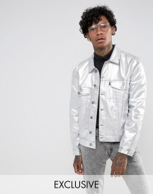 Jaded London Denim Jacket With Metallic Silver Coating afbeelding