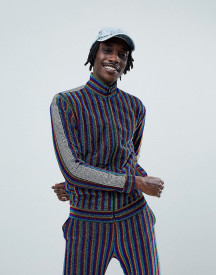 Jaded London Track Top In Rainbow Stripe With Side Stripe afbeelding