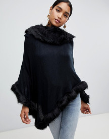 Jayley Faux Fur Trim Wool Blend Poncho afbeelding