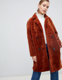 Jayley Teddy Faux Double Breasted Coat afbeelding