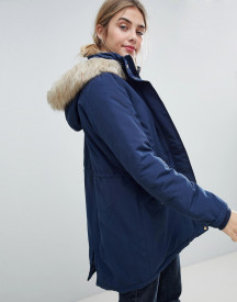 Jdy Pebble Parka Coat With Faux Fur Trim afbeelding