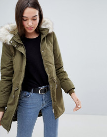 Jdy Star Fall Parka With Faux Fur Hood afbeelding