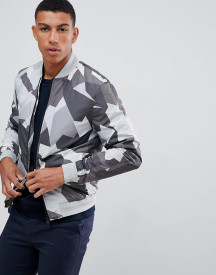 J.lindeberg Thom Abstract Print Bomber Jacket In Grey afbeelding
