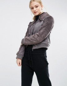 J.o.a Faux Shearling Cropped Jacket afbeelding