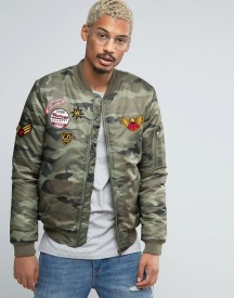 Juice Camo Bomber Jacket With Patches afbeelding