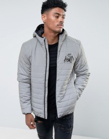 Kings Will Dream Puffer Jacket In Reflective Grey With Logo afbeelding