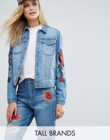 Kubban Tall Floral Embroidered Slim Denim Jacket afbeelding