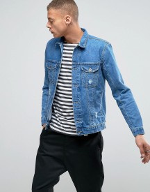Kubban Washed Denim Jacket With Side Zips And Distressing afbeelding