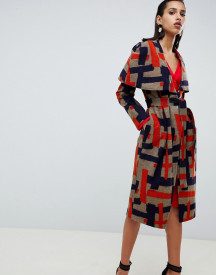 Lavish Alice Cape Overlay Wool Coat In Abstract Print afbeelding