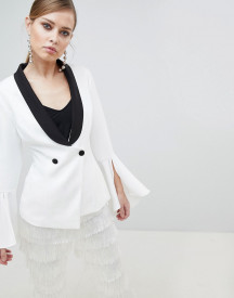 Lavish Alice Monochrome Frill Sleeve Fitted Blazer afbeelding