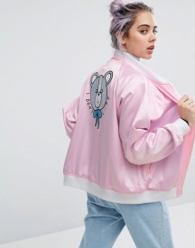 Lazy Oaf I Don't Care Bear Satin Bomber afbeelding