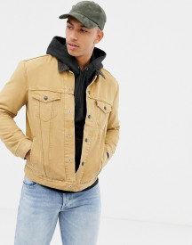 Levi's X Justin Timberlake Lined Canvas Trucker Jacket In Tan afbeelding