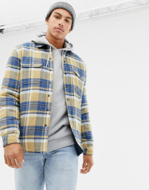 Levi's X Justin Timberlake Reversible Check/plain Flannel Overshirt Jacket In Yellow/navy afbeelding