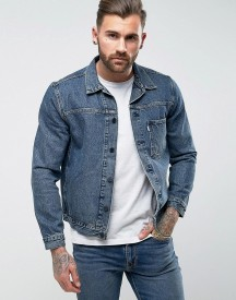Levis Line 8 Denim Trucker Jacket Muscle Wash afbeelding