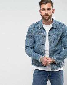 Levis Line 8 Graffiti Print Denim Trucker Jacket afbeelding