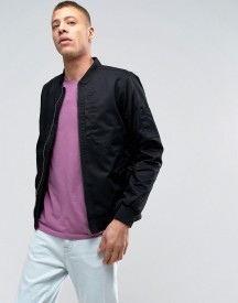 Lindbergh Lightweight Bomber Jacket In Black afbeelding