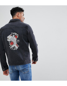 Liquor N Poker Embroidered Koi And Crane Denim Jacket afbeelding