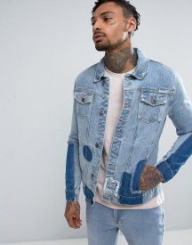 Liquor & Poker Patchwork Denim Jacket afbeelding